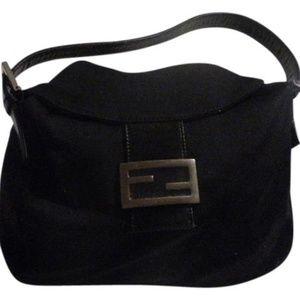 FENDI Black Wool and Leather Hobo Shoulder